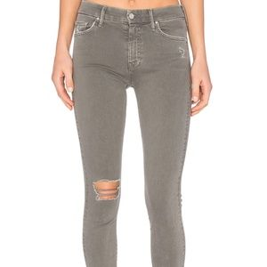 MOTHER High Waisted Ripped Looker Pants in Grey